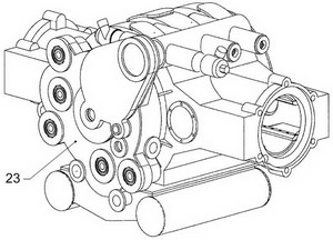 Корпус двигателя 2Д80ГКО в сборе. Вид со стороны коробки приводов агрегатов. Топливные насосы высокого давления установлены.